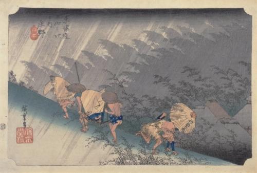 歌川広重「東海道五拾三次之内 庄野 白雨」