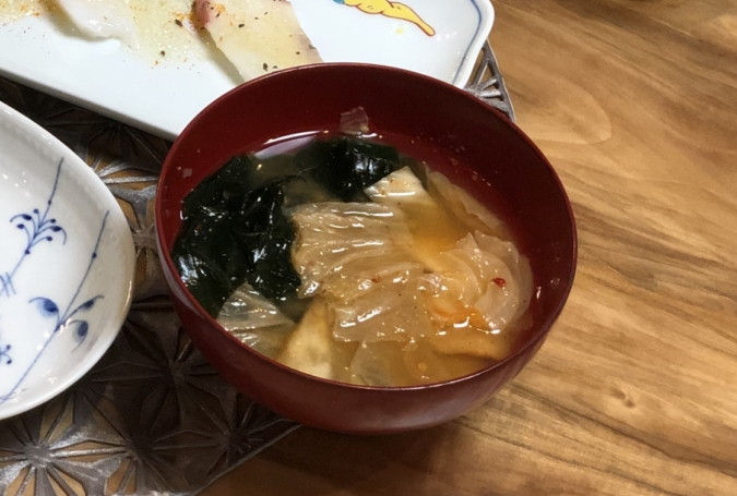 キムチチゲ風味噌汁