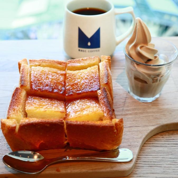 REC COFFEE博多マルイ店 厚切りハニートースト コーヒーソフトクリーム添え