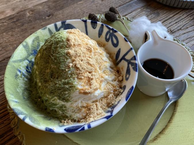 厳選野菜料理とかんなアイス 夜空(よぞら)八女抹茶ときな粉のかんなアイス