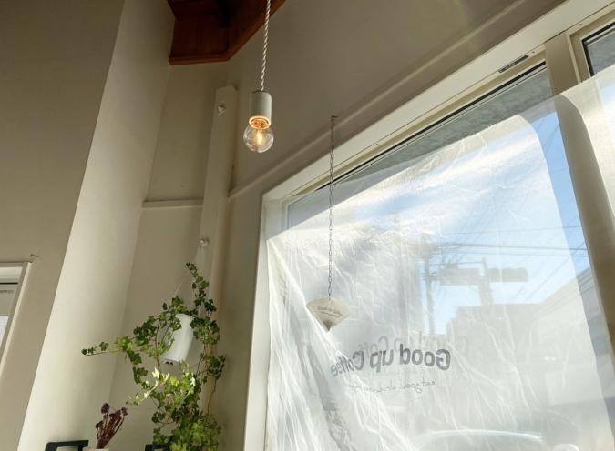Good up Coffee(グッドアップコーヒー) 布で覆われた窓