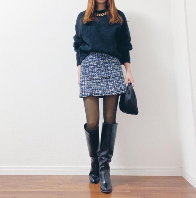 「H&M」ニットコーデ4つ ツイードスカート