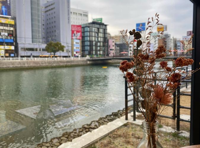 Au bord d'Eau Fukuoka(オ・ボルドー・フクオカ) 窓から見る那珂川