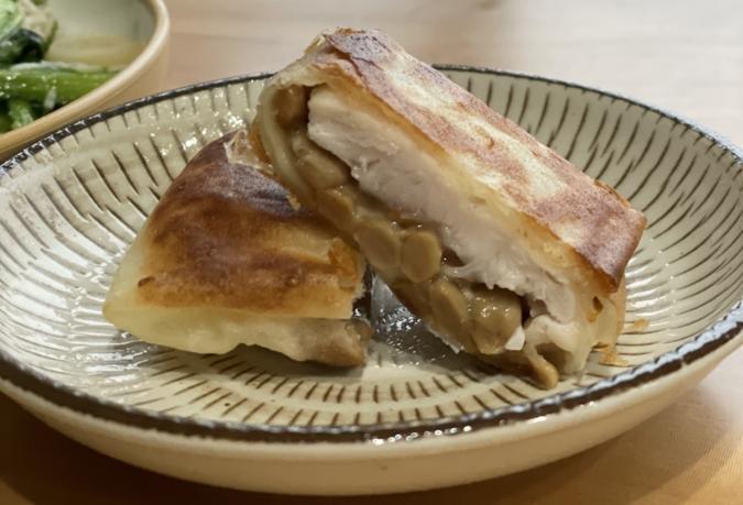 納豆チーズのささみ春巻き