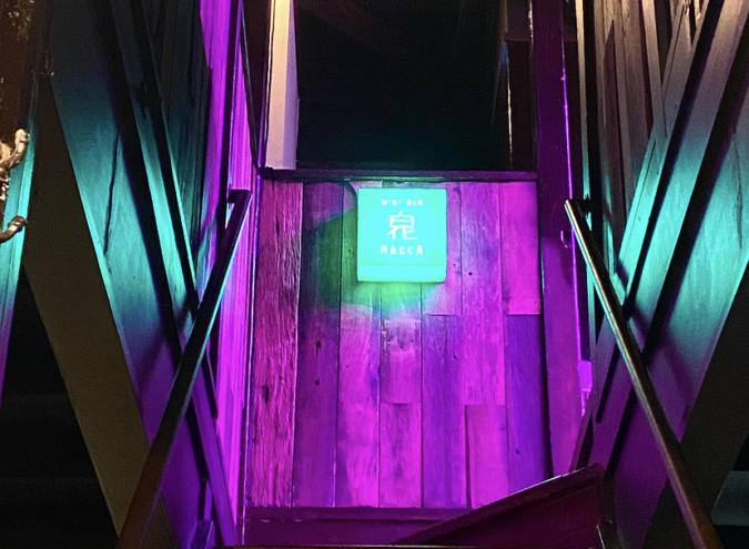 『MINT BAR HACCA(白化)』紫に光る入口