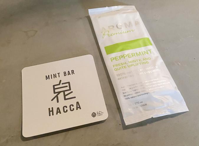 『MINT BAR HACCA(白化)』おしぼりもミントの香り!