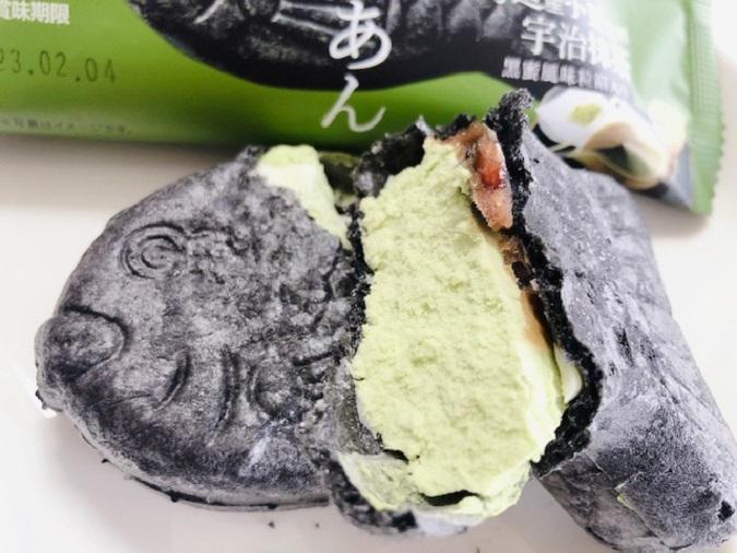 和菓子アイスたい焼き最中 宇治抹茶しっぽまであん 黒蜜風味粒餡入