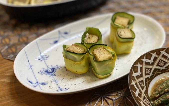 ズッキーニの高野豆腐巻き