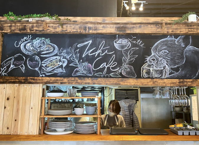 Ichi Cafe店内のチョークアート