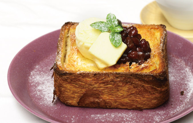 chano-ma(ちゃのま)クロワッサン食パンの蜂蜜トースト 小倉あんバターとバニラアイス