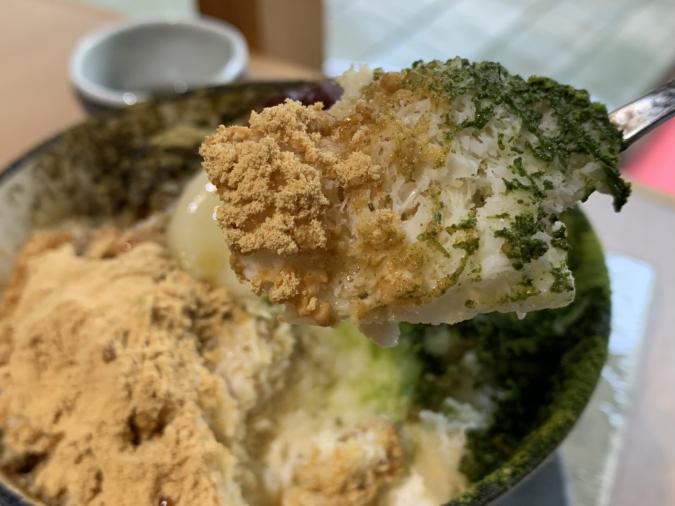 「こおりやたから」のかき氷は、抹茶は八女、きな粉は丹波の黒豆、ほうじ茶は国産100%の良いものを使用