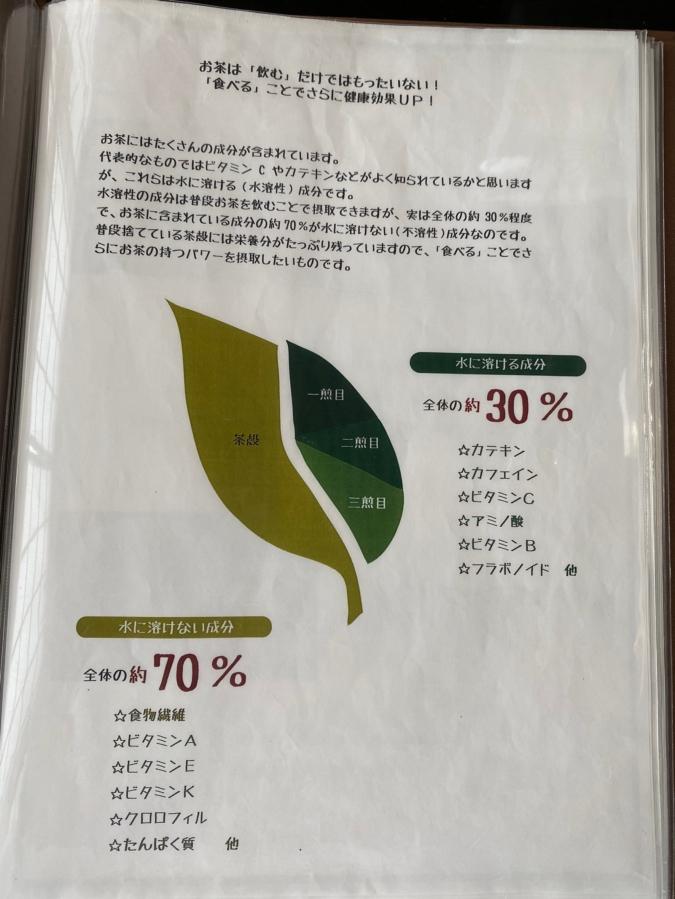「茶の文化館」お食事処のメニューにもお茶の説明があります