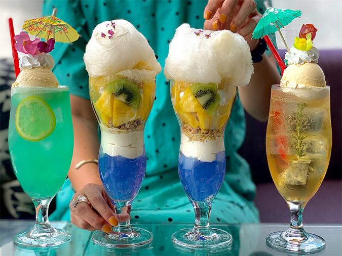 『kawara CAFE&DINING FORWARD福岡パルコ店』の新作クリームソーダ「ハワイアンソーダ」「ピーチティーソーダ」