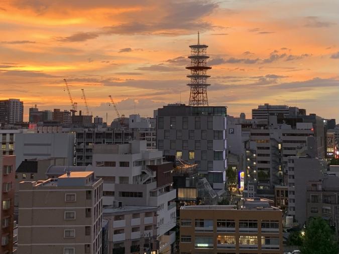 lyf Tenjin Fukuoka(ライフ天神福岡)テラスからの夕焼け