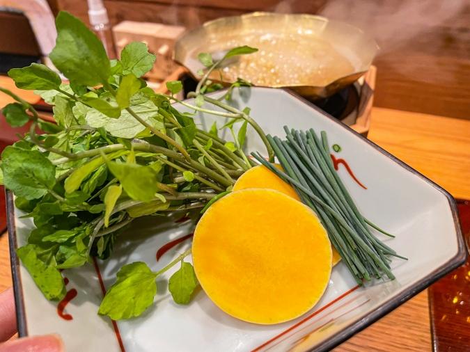 『たんはらみ源』コース・タンしゃぶの3種類の野菜