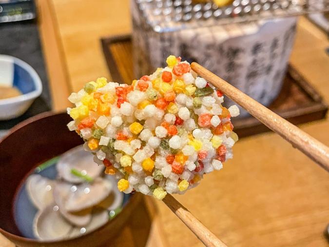 『炉ばた 髙』炙り手織り寿司・栗麸揚げ
