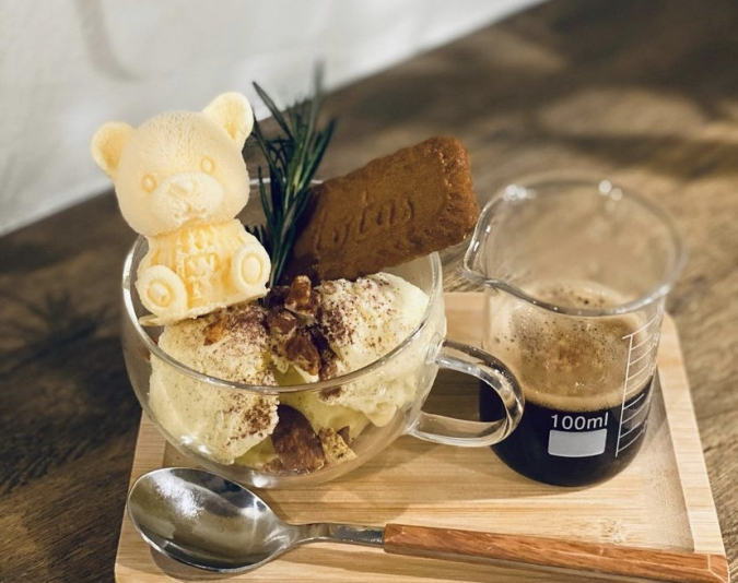 『Oak cafe(オークカフェ)』くまのアフォガード