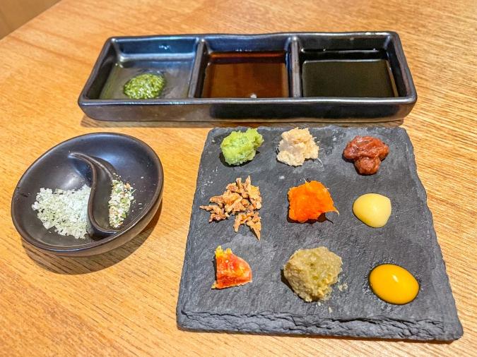 『炉ばた 髙』炙り手織り寿司・9種の薬味等