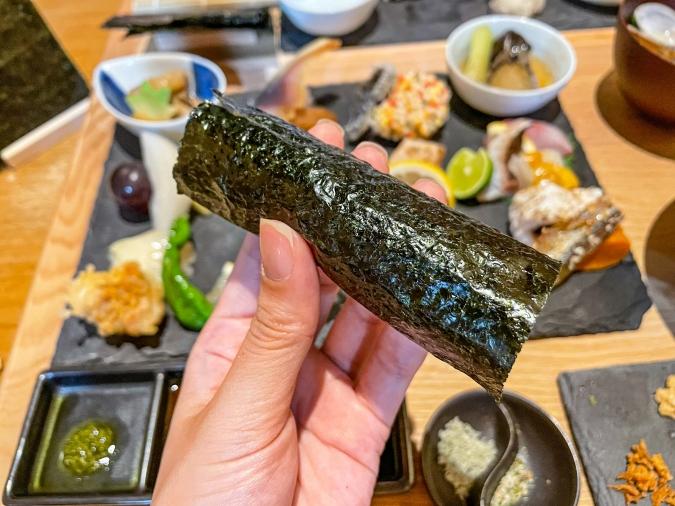 『炉ばた 髙』炙り手織り寿司・手巻き寿司工程④