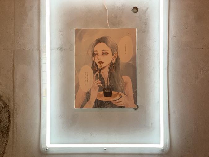 カフェ『LOVELESS COFFEE』店内に飾られたイラスト