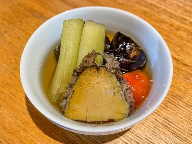 『炉ばた 髙』炙り手織り寿司・アワビの一品物