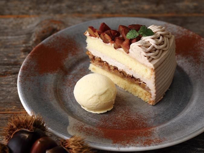 キハチカフェ・栗のショートケーキ バニラアイス添え